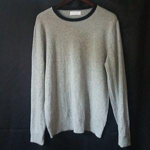 Everlane L contrast crewneck cashmere grey sweater